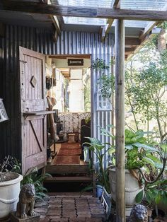 The home of designer / maker Amanda Coutts and her two sons in Eureka NSW. Photo – Eve Wilson, production – Lucy Feagins / The Design Files. Garden Design, House Design, Design Design, Bike Shed, Shed Homes, The Design Files, Outdoor Living, Outdoor Decor, Cabins In The Woods