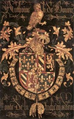 COUSTENS, Pieter (active 1453-1487 in Bruges and Brussels)   Click!	 Coat-of-Arms of Anthony of Burgundy  1478 Oil on panel, 94,2 x 58,7 cm Sint-Salvatorskerk, Bruges  This coat-of-arms belongs to a series of 28 which is fixed above the choir-stalls of St Saviour's Cathedral to commemorate the 13th chapter of the order which was held there in 1478. The entire series was painted by Pieter Coustens, a court painter in Burgundy.  The coat-of-arms of Anthony of Burgundy (1421-1504), as Knight…