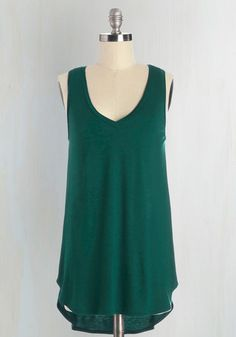 Endless Possibilities Tank Top in Forest - Jersey, Knit, Green, Solid, Sleeveless, Variation, Green, Sleeveless, Basic, V Neck, Mid-length, Lounge