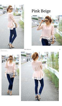 シフォンフリル長袖ぺプラムチュニック fashion girly kawaii cute frill tops pink tunic Peplum chiffon