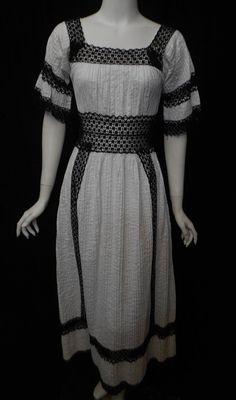 Vintage 1960s Mexican Wedding Dress Peek a Boo Waist Black Trim Pin Tuck Crochet Maxi Dress Hippie Boho
