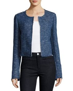 Ualana Raw-Edge Tweed Jacket, Blue
