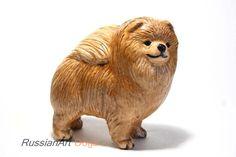 Pomeranian statue, figurine handmade of ceramic, statuette by RussianArtDogs on Etsy