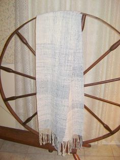 Cotton Scarf woven from my handspun. Displayed on 200 yr old spindle wheel.