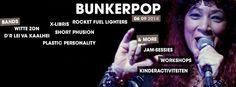 Tijdschema bands op Bunkerpop 2014   || (16:15uur-17:00uur) Witte zon || (17:15uur-18:00uur) Plastic Personality || (18:15uur-19:00uur) Rocket Fuel Lighters || (19:15uur- 20:00uur) X-Libris || (20:15uur- 21:00uur)  Dr Lei va Kaalhei || (21:30uur- 22:15uur) Short Phusion || (22:30uur-03:00uur) Klassenbass Afterparty  !!!! ||