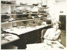 Frances Higgins in there Derborn Glass Studio.