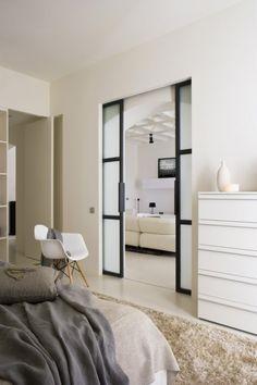 steel and glass pocket doors Bedroom Doors, Home Bedroom, Bedroom Wardrobe, Master Bedrooms, Dream Bedroom, Double Pocket Door, Double Doors, Glass Pocket Doors, Glass Doors