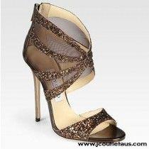 New Jimmy Choo Leila Glitter Mesh Sandals Bronze AUNA