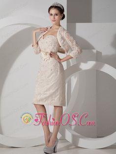 1769542167d Elegant Champagne Mother of the Bride Dress Column Sweetheart Satin Belt  and Appliques Knee-length