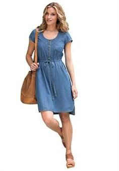 Plus Size Empire Waist Denim Dress
