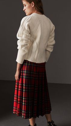 Cable Knit Wool Cashmere Sweater in Natural White - Women | Burberry United States
