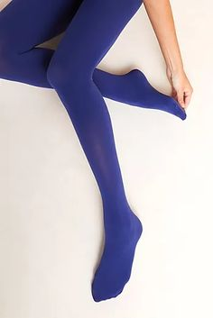Hansel From Basel Opaque Tights by in Blue Size: S/m, Women's Leggings at Anthropologie Colored Tights Outfit, Green Tights, Tights And Heels, Blue Stockings, Nylon Stockings, Sock Leggings, Women's Leggings, Cheap Leggings, Cotton Tights
