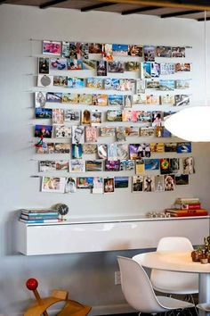 great styling idea via Apartment Therapy -- Just had a great idea! On your trips, send a post card to yourself describing some of the little things that have happened to you -- the things you may forget over the years but are so special. Then do a display like this, and you can read the cards whenever you want!
