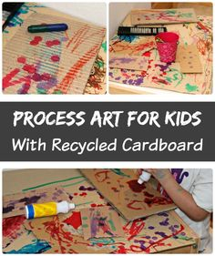 Process art for preschoolers with recycled materials! Use leftover boxes to create a easy art project for kids!
