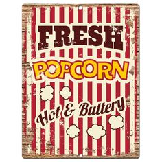 PP0814 Fresh PopCorn Parking Plate Chic Sign Bar Cafe Restaurant Decor Gift