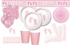 XXL Baby Füßchen Rosa Babyshower Set für ein Mädchen.