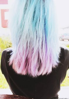 Blue to lavender ombre hair