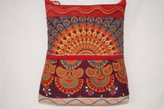 Orange bag maroon bag large shoulder bag tribal handbag