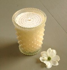 Simpatico Hobnail Glass Candle - 16 Oz White Flower