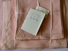 Unused 17pc Marghab Linen Organdy Placemats Pink Trailing Vine Madeira Embroider | eBay