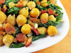 Chickpeas, Bacon & Spinach {good alone or inside something}