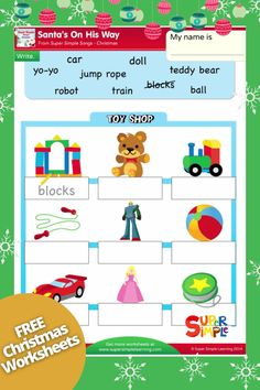 Write the correct word under each toy!