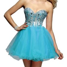 Pre-owned Clarisse Ocean Blue C2016 Short Prom Dress ($113) ❤ liked on Polyvore featuring dresses, ocean blue, petite, blue sequin dress, petite cocktail dress, petite dresses, sequin prom dresses and blue strapless dress