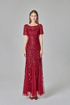 Burgundy Sheath Short Sleeves Round Long Prom Dresses 90801 – Okdresses