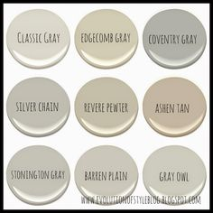 Evolution of Style: Benjamin Moore's Best Selling Grays with colors in rooms to look at :)