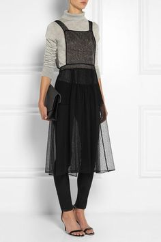 Sheer dress over pants and turtle neck sweater Maison Martin Margiela Mesh Dress, Sheer Dress, Tulle Dress, Knot Dress, Wrap Dress, Style Outfits, Cute Outfits, Looks Style, My Style