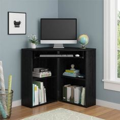 Increase your work space and turn any room into your office with ourCorner Desk Bookcase. The space-saving design of thisCorner Desk Bookcase is compact enough for small rooms or even dorm rooms. This Corner Desk even features a slide- out keyboard tray. Black Desk, Black Corner Desk, Small Corner Desk, Desks For Small Spaces, Corner Table, Small Rooms, Black Wood, Modern Corner Desk, Modern Desk