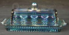 <3 Blue Carnival Glass Lidded Butter Dish