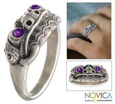 Novica Sterling Men's 'Immortal Eclipse' Amethyst Ring