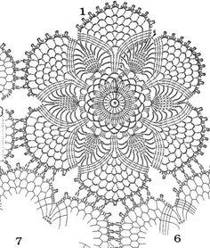 Crochet Bedspread Pattern, Crochet Doily Diagram, Crochet Motifs, Freeform Crochet, Crochet Doilies, Crochet Flowers, Doily Patterns, Knitting Patterns, Crochet Patterns