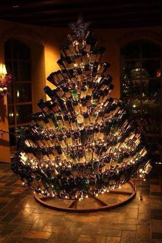 Totally awesome!  Wine bottle Christmas tree.