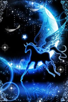 A winged horse galloping from the moon Cute Wallpaper Backgrounds, Pretty Wallpapers, Galaxy Wallpaper, Gothic Fantasy Art, Beautiful Fantasy Art, Fantasy Art Landscapes, Unicorn Art, Beautiful Nature Wallpaper, Fairytale Art