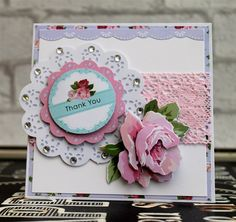 Handmade 'Thank You' card. Made with the Simply Floral Decoupage Pack with Lace from the Little Meow collection.