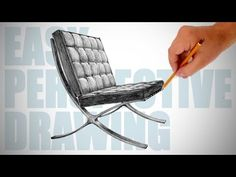 How to draw Barcelona chair - Easy Perspective Drawing 16 - YouTube