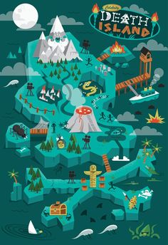 Celebrity Death Island by Diarmuid O Cathain, via Behance: