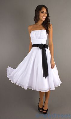 Dresses for Women   Strapless Knee Length Homecoming Dress by Mori Lee 735 - In Stock!