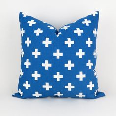 Swiss Cross Pillow Royal Blue White Pillow Cover ANY SIZE Cobalt by DeliciousPillows