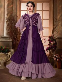 Gown With Jacket, Kurti Sleeves Design, Long Dress Design, Lengha Choli, Ruffle Fabric, Purple Jacket, Islamic Fashion, Sleeve Designs