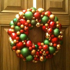 Homemade ornament wreath