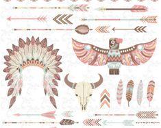 Paquete de imágenes prediseñadas tribal Indio CLIP por YenzArtHaut