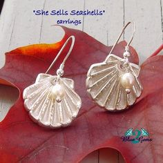 """She Sells Seashells"" - .999 Silver Metal Clay earrings with White Fresh Water Pearls and Sterling Silver ear wires."