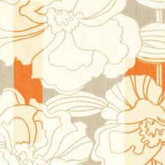 Wa Nouveau Flower Stripe Grey & Burnt Orange