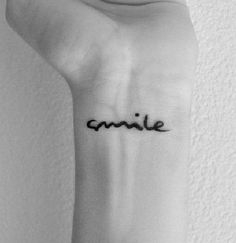 InknArt Temporary Tattoo - 2pcs SMILE hand writing temporary tattoo wrist neck ankle on Etsy, $1.99