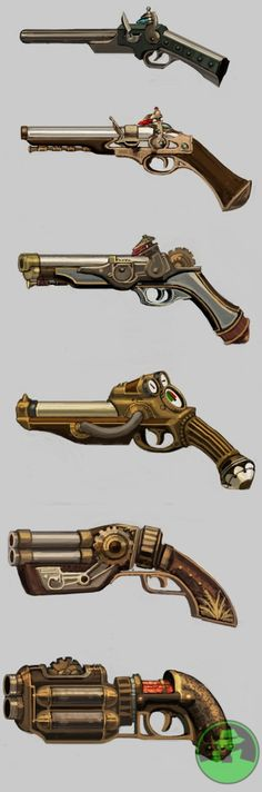 Steampunk firearms, the pistol variety Arma Steampunk, Pirate Steampunk, Steampunk Weapons, Steampunk Design, Steampunk Fashion, Gothic Steampunk, Steampunk Clothing, Steampunk Drawing, Larp