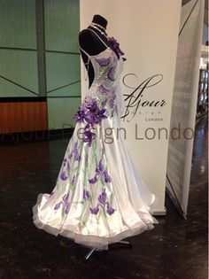 Ajour Design London - white with lavender purple modern dress floral horsehair Latin Ballroom Dresses, Ballroom Dance Dresses, Ballroom Dancing, Latin Dresses, Dance Costumes Lyrical, Ballroom Costumes, Lyrical Dance, Beautiful Costumes, Beautiful Gowns