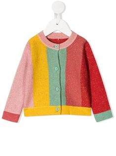 Red/green/yellow organic cotton blend colour-block knitted cardigan from STELLA MCCARTNEY KIDS featuring metallic threading, round neck, front button fastening, long sleeves, ribbed cuffs, ribbed hem and colour-block design. POSITIVELY CONSCIOUS: At least 50% of the main material of this product meets our conscious criteria: for example, it's either organic, recycled, upcycled, or independently recognised as being better for the environment (such as linen, ramie, Tencel, etc.). Kids Blocks, Yellow Clothes, Sweat Dress, Kenzo Kids, Striped Bodysuit, Stella Mccartney Kids, Coloring For Kids, Outfits For Teens, Knit Cardigan